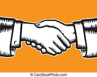 Handshake, partnership symbol. Vector illustration without gradients.