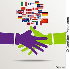 Handshake, Teamwork Hands Logo with flags background. Vector illustration.