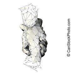 Handshake. Teamwork. Technology blockchain. Helping hand concept. Gesture, sign of help and hope. Two hands taking each other. Isolated vector low poly wireframe mesh, Illustration on white background