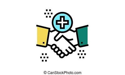 handshake thank you animated color icon. handshake thank you sign. isolated on white background