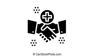 handshake thank you animated glyph icon. handshake thank you sign. isolated on white background