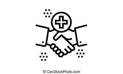 handshake thank you animated black icon. handshake thank you sign. isolated on white background
