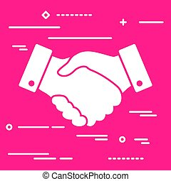 handshake thin line design icon on the pink background - vector