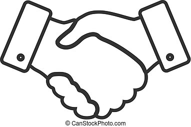handshake thin line design icon - vector illustration