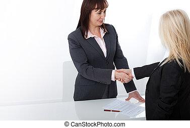 handshake., transakcja, pomyślny, każdy, dwa, znak, handlowy, inny, siła robocza, potrząsanie, kobiety