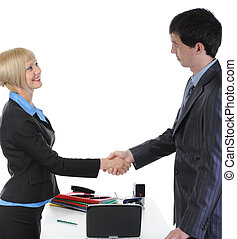 Handshake two business partners
