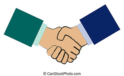 Handshake - Two stylized arms shaking hands. All isolated on...