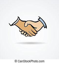 Handshake sketch symbol. Vector illustration on a white background