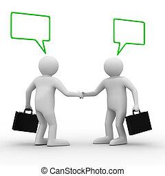 handshake., vergadering, twee, businessmen., vrijstaand, 3d,...