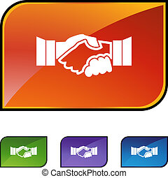 Handshake web button isolated on a background.