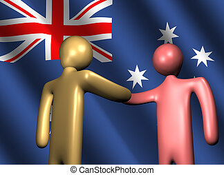 handshake with Australian flag