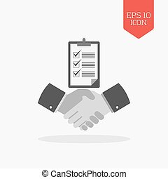 Handshake with checklist icon, successful agreement concept. Flat design gray color symbol. Modern UI web navigation, sign.
