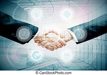 Online business concept - Handshake with digital pattern....