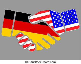 Handshake with Germany and USA flags vector