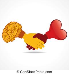 handshake with heart and brain