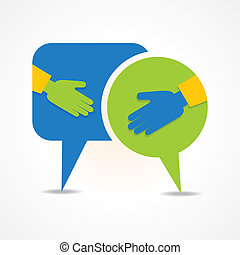handshake with message bubble