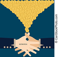 Handshake with Money. Modern Flat design vector illustration...