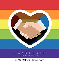 Handshake with rainbow colors for gay pride