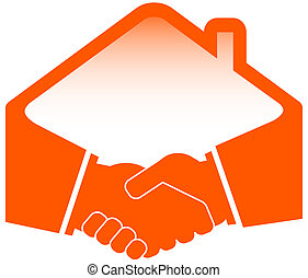 handshake with roof icon - handshake with roof -...
