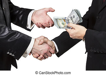 Handshake of two men with the transfer of money from one another isolated on white background