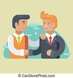 handshaking., 套间, partnership., 商业, 二, 描述, 矢量, 商人