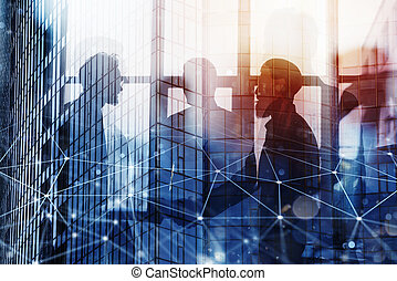 Handshaking business person in office with network effect. concept of teamwork and partnership. double exposure