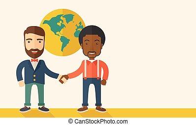 handshaking., felicemente, americano, nero, tipo