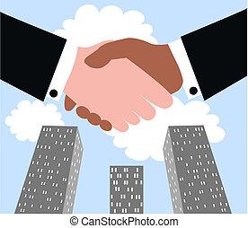 handshaking, negócio