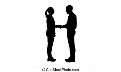 handshaking., silhouette, gens, jeune, autre, chaque,...