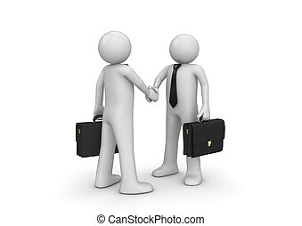 Handshaking two businessmen - 3d isolated characters on...