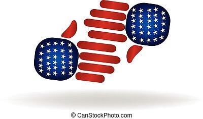 handshaking USA flag