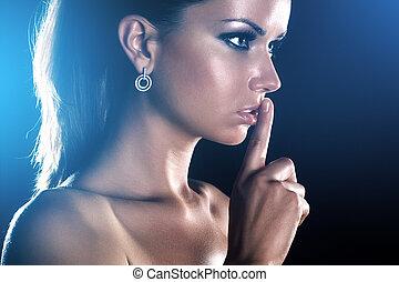 handsign, mostrando, mulher, jovem, quieto