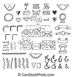 Handsketched vector design elements. Hand drawn ampersands, catchwords and wedding romantic decor elements