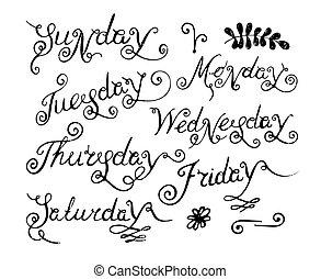 handskrivet, dagar, week.