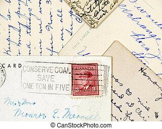 handskrivet, gammal, vykort