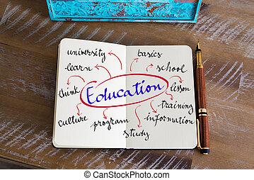 handskrivet, text, utbildning