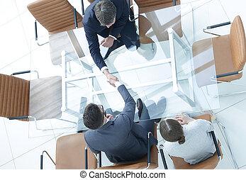 handslag, över, den, tabell., möte, omkring, a, direktionskontor, tabell.