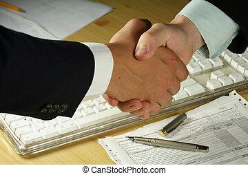 handslag, affär
