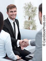 handslag, affärsverksamhet partner, in, den,...