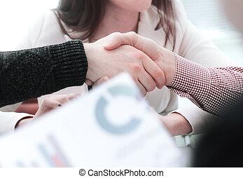 handslag, av, den, chef, och, den, klient, tabellen, in, den, bank, kontor