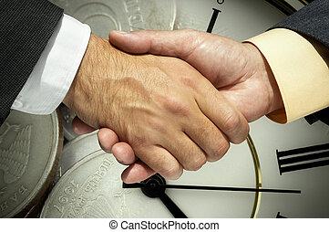 handslag, bak, a, pengar, och, klocka, bakgrund