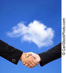 handslag, begrepp, moln, affär, beräkning