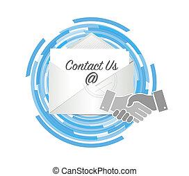 handslag, begrepp, oss, kontakta