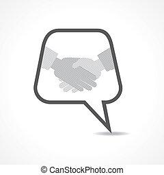 handslag, bubbla, meddelande
