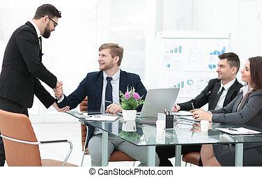 handslag, chef, och, anställd, in, den, workplace