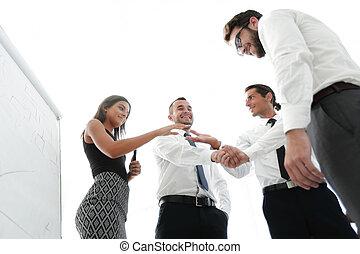 handslag, chef, och, den, client.