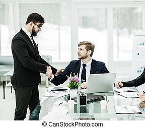 handslag, chef, och, den, klient, för, underteckna, a, avtal, in, th