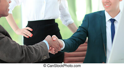 handslag, chef, och, den, klient, in, kontoren