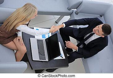 handslag, chef, och, den, klient