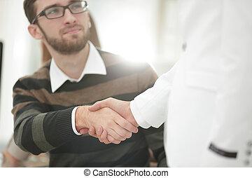 handslag, chef, och, klient, in, den, ämbete.